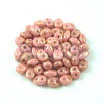 Superduo cseh préselt kétlyukú gyöngy - 2.5x5mm - Opaque Rose Bronze Luster