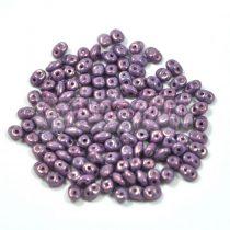 Superduo cseh préselt kétlyukú gyöngy - 2.5x5mm - white purple luster