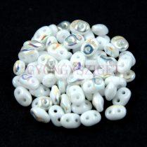 Superduo cseh préselt kétlyukú gyöngy - 2.5x5mm - white ab