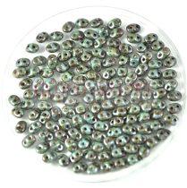 Superduo cseh préselt kétlyukú gyöngy - 2.5x5mm - Brown Green Picasso