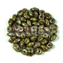Superduo cseh préselt kétlyukú gyöngy - 2.5x5mm - chalk copper glaze