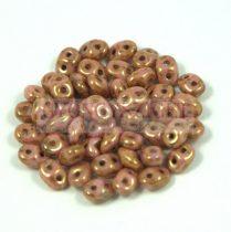 Superduo cseh préselt kétlyukú gyöngy - 2.5x5mm - rose bronze picasso