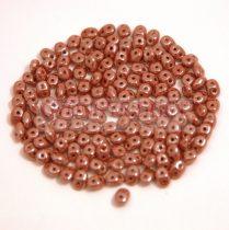 Superduo cseh préselt kétlyukú gyöngy - 2.5x5mm - lustered chocolate