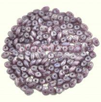 Superduo cseh préselt kétlyukú gyöngy - 2.5x5mm - matte opal amethyst