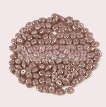Superduo cseh préselt kétlyukú gyöngy - 2.5x5mm - lustered mauve