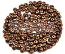 Superduo cseh préselt kétlyukú gyöngy - 2.5x5mm - eggplant bronze