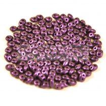 Superduo cseh préselt kétlyukú gyöngy - 2.5x5mm - matte metallic purple