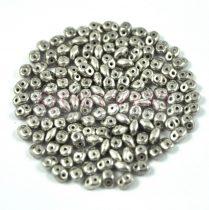 Superduo cseh préselt kétlyukú gyöngy - 2.5x5mm - antique silver