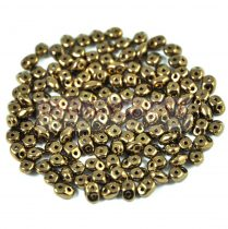 Superduo cseh préselt kétlyukú gyöngy - 2.5x5mm - golden bronze