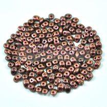 Superduo cseh préselt kétlyukú gyöngy - 2.5x5mm - jet polichrome copper rose