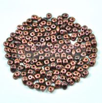 Superduo cseh préselt kétlyukú gyöngy - 2.5x5mm - jet polichrome copper rose