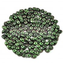 Superduo cseh préselt kétlyukú gyöngy - 2.5x5mm - jet polichrome dark green