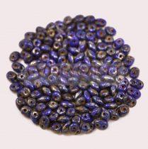 Superduo cseh préselt kétlyukú gyöngy - 2.5x5mm - sapphire picasso