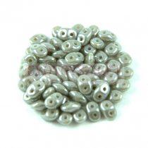 Superduo cseh préselt kétlyukú gyöngy - 2.5x5mm - lustered gray ash