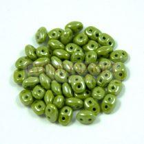 Superduo cseh préselt kétlyukú gyöngy - 2.5x5mm - opaque light olive luster