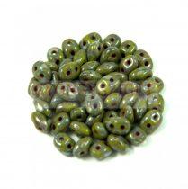Superduo cseh préselt kétlyukú gyöngy - 2.5x5mm - opaque light olive picasso