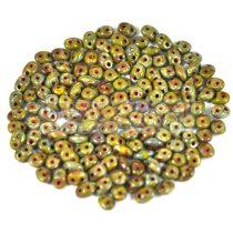 Superduo gyöngy 2.5x5mm - telt világos olíva picasso