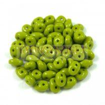 Superduo cseh préselt kétlyukú gyöngy - 2.5x5mm - Opaque Olive