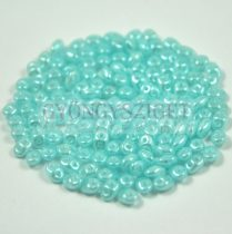 Superduo cseh préselt kétlyukú gyöngy - 2.5x5mm - opal light blue luster