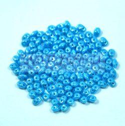 Superduo cseh préselt kétlyukú gyöngy - 2.5x5mm - Turquoise Blue Luster