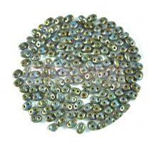 Superduo cseh préselt kétlyukú gyöngy - 2.5x5mm - opaque turquoise blue violet senegal