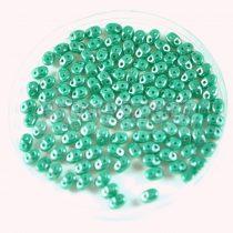 Superduo cseh préselt kétlyukú gyöngy - 2.5x5mm - opaque turquoise green luster