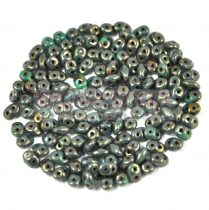 Superduo cseh préselt kétlyukú gyöngy - 2.5x5mm - turquoise green senegal brown purple