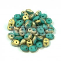 Superduo gyöngy 2.5x5mm - Fool's Gold - Turquoise Green Gold