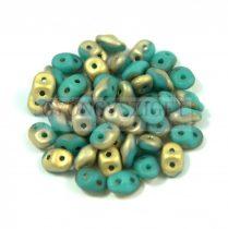 Superduo cseh préselt kétlyukú gyöngy - 2.5x5mm -  Fool's Gold - Turquoise Green Gold