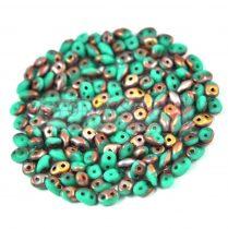 Superduo cseh préselt kétlyukú gyöngy - 2.5x5mm - opaque turquoise apollo