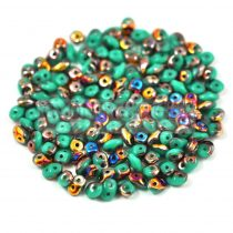 Superduo cseh préselt kétlyukú gyöngy - 2.5x5mm - green turquoise sliperit