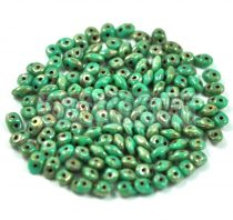 Superduo cseh préselt kétlyukú gyöngy - 2.5x5mm - turquoise green picasso