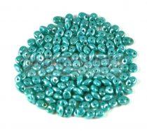 Superduo cseh préselt kétlyukú gyöngy - 2.5x5mm - Dark Turquoise Green Luster