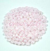 Superduo cseh préselt kétlyukú gyöngy - 2.5x5mm - opal pink white luster