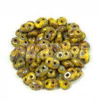 Superduo cseh préselt kétlyukú gyöngy - 2.5x5mm - yellow picasso