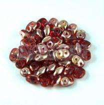 Superduo cseh préselt kétlyukú gyöngy - 2.5x5mm - red apollo