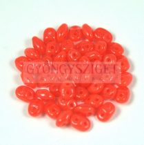 Superduo cseh préselt kétlyukú gyöngy - 2.5x5mm - opaque red