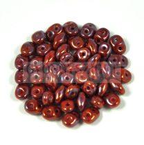 Superduo cseh préselt kétlyukú gyöngy - 2.5x5mm - Opaque Dark Red Nebula