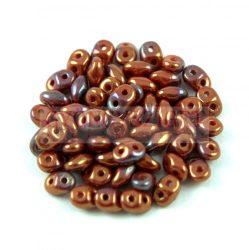 Superduo cseh préselt kétlyukú gyöngy - 2.5x5mm - red coral bronze vega luster