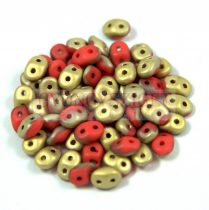 Superduo gyöngy 2.5x5mm - Fool's Gold - Coral Gold