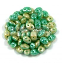 Superduo Duet Bead - Green Turquoise/Ivory Luster - 2.5x5mm