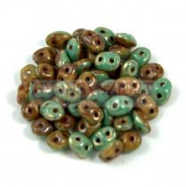 Superduo Duet Bead - Green Turquoise/Ivory Picasso - 2.5x5mm