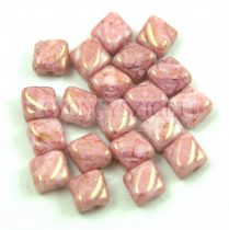 Silky gyöngy - Opaque White Pink Gold Luster - 6x6mm