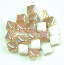 Silky gyöngy - White Celsian - 5x5mm