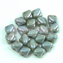 Silky gyöngy - White Blue Green Luster - 5x5mm