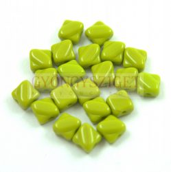Silky gyöngy - Opaque Green Pea - 6x6mm