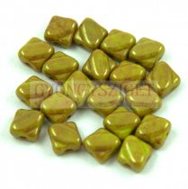 Silky gyöngy - Opaque Green Pea Gold Luster - 6x6mm