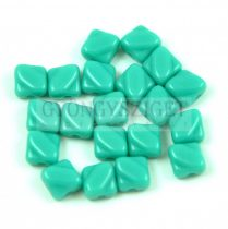 Silky gyöngy - Opaque Turquoise Green - 6x6mm