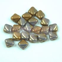 Silky gyöngy - Opaque Purple Brown Bronze Luster - 6x6mm