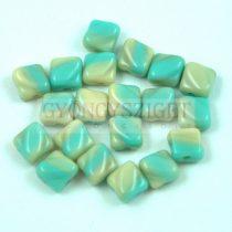 Silky gyöngy - Opaque Light Turquoise Beige Blend - 6x6mm